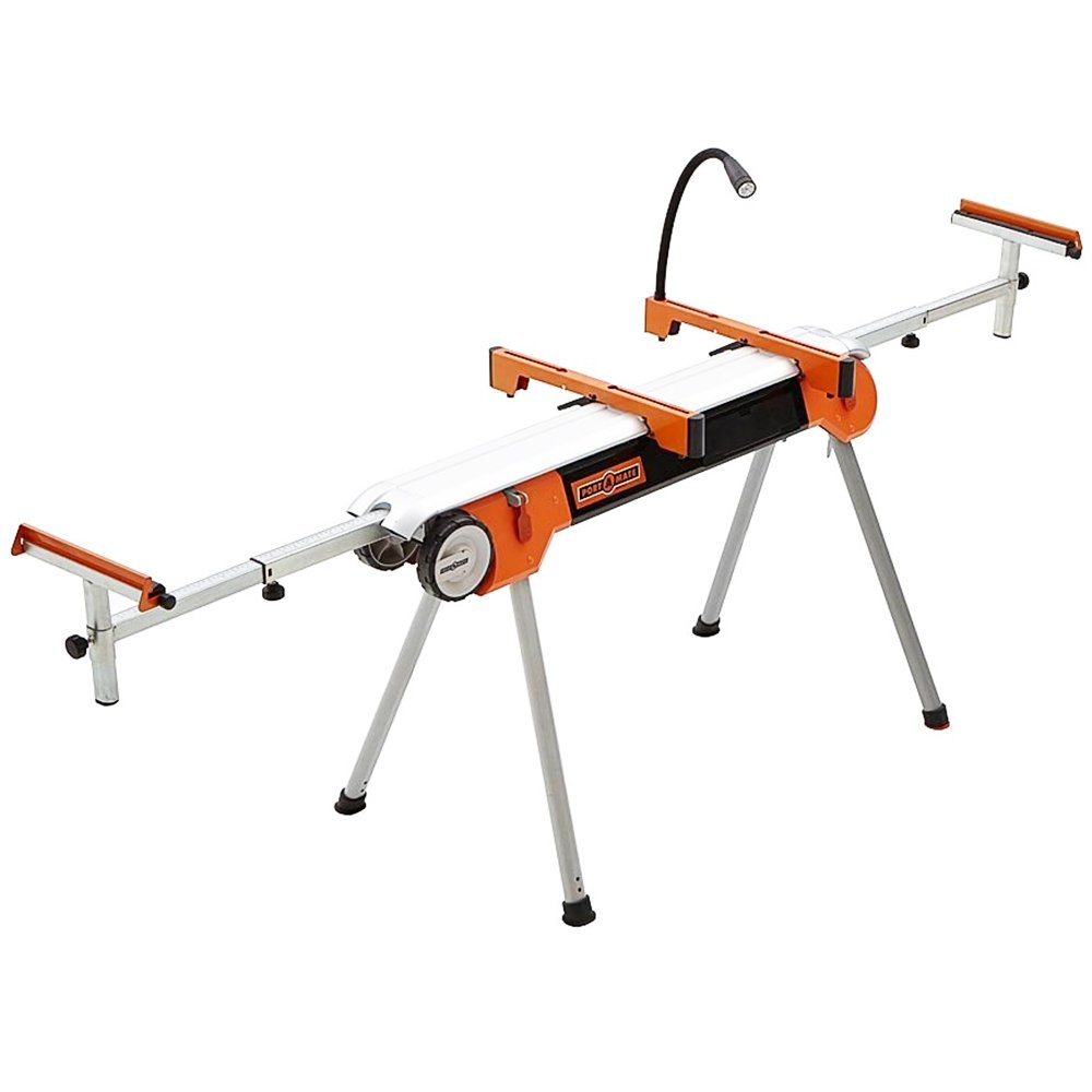 Folding Miter Saw Stand with Wheels Portamate PM-7500. Portable Power Tool Stand with Wheels, LED Light, Quick Tool Mounts and 4 Outlet 110V Power Strip. by PortaMate (Image #1)