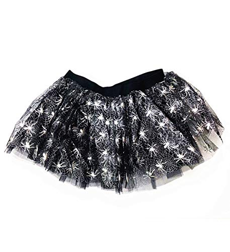 Mozlly Black & White Stretchable Pull On Tutu for Women Decorated w/ Spiders One Size Fits Most Adult Ballet Costume Princess Fairy Halloween Outfit Comfortable Tutu Skirt w/ Garter for -