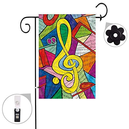 Garden Music - Jul Musical Note Music Bright Seasonal Porch Garden Flags Semi Transparent Polyester Fiber 12 X 18 Prime Banners