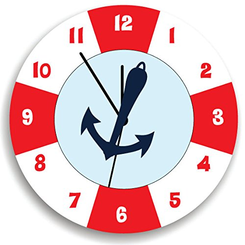 Life Saver Baby Wall Clock with Anchor, Anchor Children Wall Clock, Kids Wall Clock with Red White and Blue,