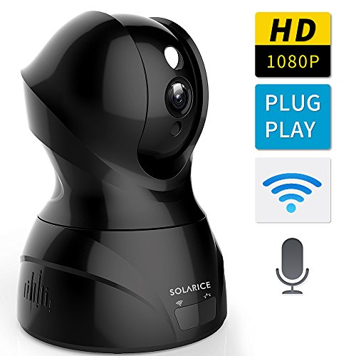Solarice 1080P Wireless IP Security Camera with Night Version, Pan/Tilt/Zoom Wifi Home Surveillance Camera with Motion Detect Two Way Audio For Baby Pet Nanny Monitor, Mobile App Control