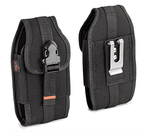 for CAT S60, S61, S48c, S41, S40, S50, S31, Heavy Duty Rugged Canvas Vertical AGOZ Case Holster Pouch Cover with Metal Clip, Belt Loops, Card Slot & Front Buckle Clip
