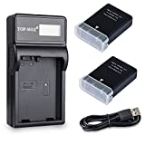TOP-MAX 2 Pack Battery and LCD Charger for Nikon EN-EL14 Nikon EN-EL14a and Nikon Coolpix P7800 P7700 P7100 P7000 Nikon Df Nikon D5600 D5500 D5300 D5200 D5100 D3400 D3300 D3200 D3100