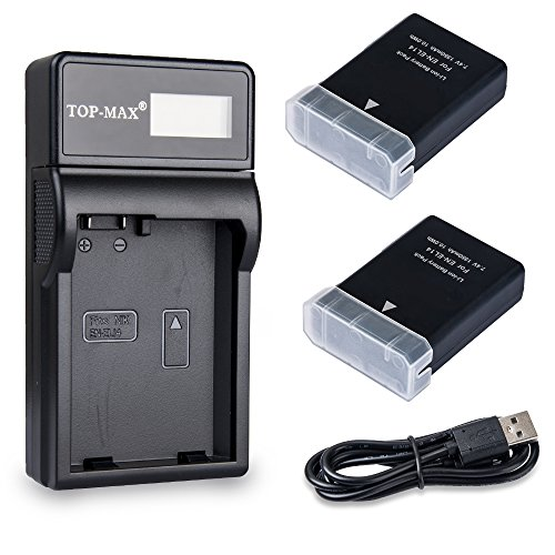 TOP-MAX 2 Pack EN-EL14 EN-EL14a Battery + LCD Charger for Nikon Coolpix P7800 P7700 P7100 P7000 Nikon Df Nikon D5600 D5500 D5300 D5200 D5100 D3400 D3300 D3200 D3100