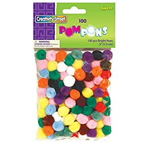 Creativity Street Bright Hues Pom Pons, 0.5-Inch, 100-Pack (AC8114-01)
