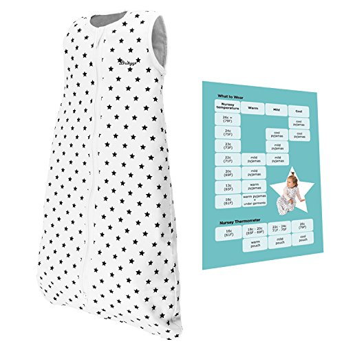 Baby Sleep Sack for Boys and Girls – 31.4 Inches Long Sleeping Bag for 6 to 12 Months Babies – Two Layers of Natural Cotton – Breathable Child Blanket that Doesn't Interfere with Breathing