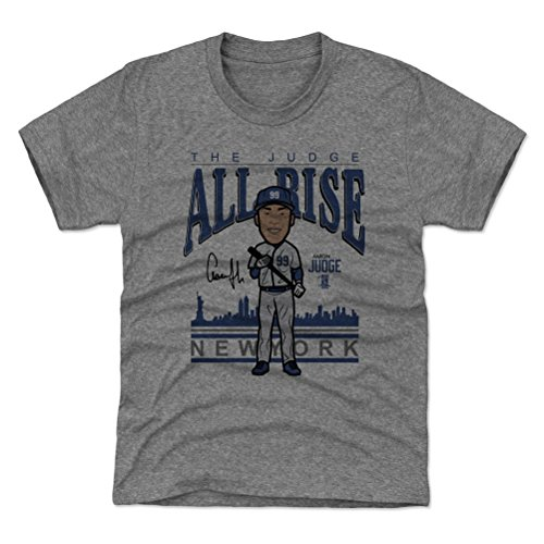 500 LEVEL New York Yankees Youth Shirt - Kids X-Large (14-16Y) Tri Gray - Aaron Judge Toon B