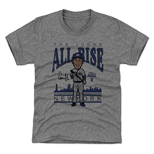 Custom Yankees Shirt (500 LEVEL New York Yankees Youth Shirt - Kids X-Small (4-5Y) Tri Gray - Aaron Judge Toon)