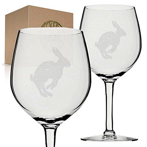 Stickerslug Engraved Leaping Jackrabbit Wine Glasses, 11 ounce, Set of 2