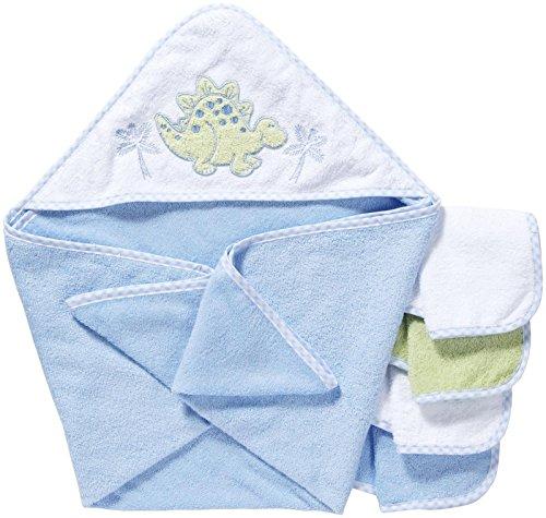 Spasilk 100% Cotton Hooded Terry Bath Towel with 4 Washcloths-Dinosaur (Polka Dot Hooded Towel)