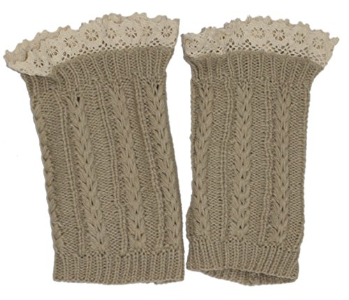 Modern Minute - Lace Top Thin Cable Knit Legwarmer Boot Topper in Oatmeal ()
