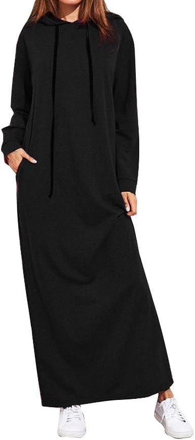 Amazon.com: Women Maxi Dress, Long Sleeve Hooded Ladies Casual ...