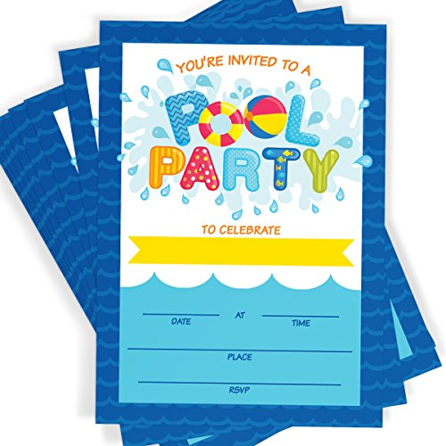 Pool Party Invitations 16 Invitations and Envelopes, Summer Swim Splash Party, Waterpark Invitations -