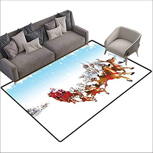 Door Rug for Internal Anti-Slip Rug Santa Christmas Ride on a Sleigh Cartoon Deer with Jingle Bells Winter Time Easy to Clean W6' x L6'10 Caramel Red Pale Blue ()
