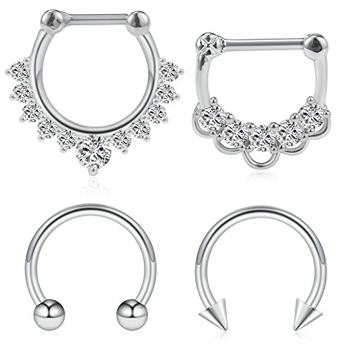 Gauge Jewelry (Ruifan 4PCS 16G Surgical Steel Horseshoe & Clear CZ Nose Ear Daith Septum Clicker Ring - Silver)