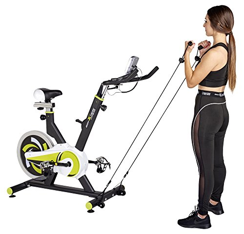 Body Xtreme Fitness Lime Green/Black Exercise Bike, Home Gym Equipment, 40lb Flywheel, Resistance Bands, Water Bottle + BONUS COOLING TOWEL by Body Xtreme Fitness USA (Image #3)