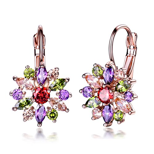 GULICX Colored Hoop Earrings Rose Gold Tone Flower Marquise Round Cluster Multicolor Cubic (Coloured Hoop)
