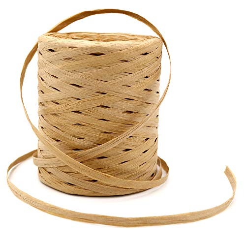 656 Feet Natural Raffia Paper Ribbon Twine Strings,Raffia Twine Packing Paper Craft Ribbon for Florist Bouquets Decoration,1/4 Inch