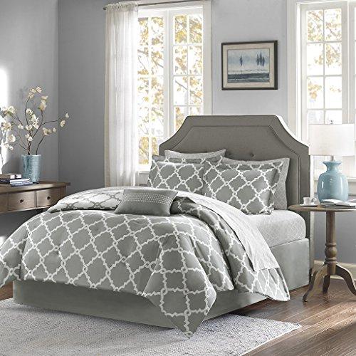 Geometirc Modern 7-Piece Reversible Comforter Set Soft Bedding Oversized Bed in a Bag SALE!!! (Full, Grey) (Full Bed Bedding Sets)