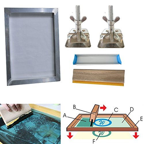 Techtongda Screen Printing Bundle Kit DIY Print Sik Screen Printing Aluminum Frame Hinge Clamp Emulsion Coater Squeegee