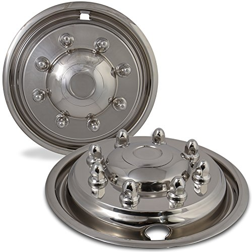 Wheel Simulators for Ford F450 F550 (Pack of 4) 19.5 Inch Snap On, Stainless Steel Hub-Caps by OxGord (Image #2)