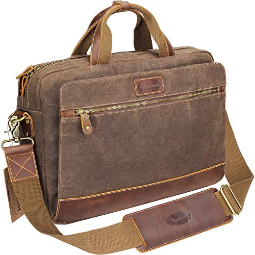 - Manificent Men's Leather Briefcases Messenger Bag, 15.6 Inch Vintage Waxed Canvas Laptop Bag Attache Case,Waterproof Shoulder Bag, Brown