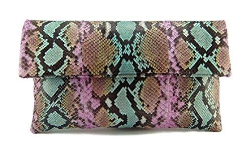 Genuine Tropical Tutti Frutti Python Leather Classic Foldover Clutch Bag