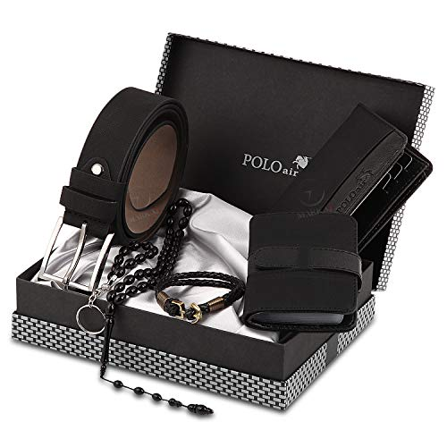 - Polo Air Men's Black1 Accesories Gift Set Including (Wallet - Belt - Credit Card Holder - Key Chain - Bracelet - Bead Rosary-Box)