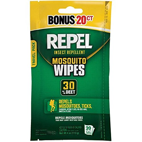 Repel 94100 Sportsmen 30-Percent Deet Mosquito Repellent Wipes, 2 Packs of 20 Count - 40 Total!