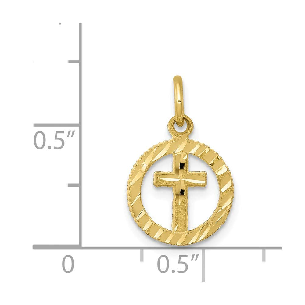 Sonia Jewels 10k Yellow Gold Solid Flat-Backed Cross in Circle for Eternal Life Pendant Charm 11mm x 20mm