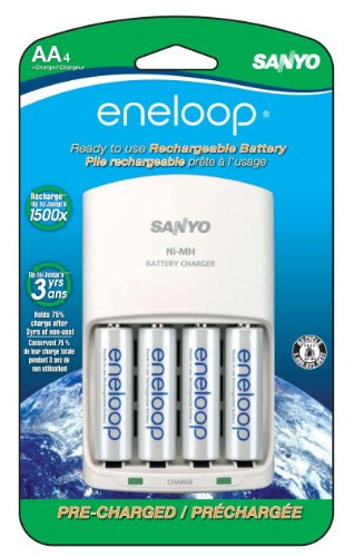 eneloop AA with 4 Position Charger, 1800 cycle, Ni-MH Pre-Charged Rechargeable Batteries, 4 Pack (discontinued by - Sanyo Charger Battery