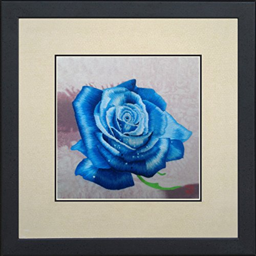 King Silk Art 100% Handmade Embroidery Multiple Framed Blue Peony Oriental Wall Hanging Art Asian Decoration Tapestry Artwork Picture Gifts 36156WFB1