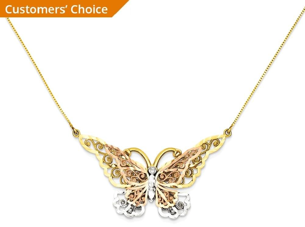 ICE CARATS 14k Yellow Rose Gold Butterfly Chain Necklace Animals/insect Fine Jewelry Gift For Women Heart by ICE CARATS (Image #2)