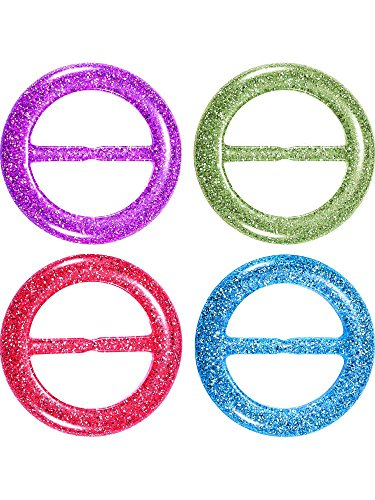 Hestya 4 Pieces 80s Party Tee Shirt Clips Plastic Fashion T Shirt Scarf Clip Ring with Assorted Colors (Color A, Size A) -