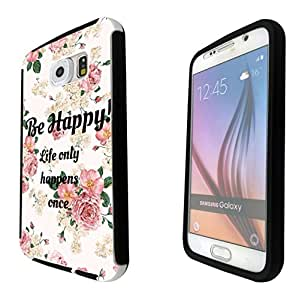 1175 - Floral Shabby Chic Roses Fleurs Be Happy Life only happens once Design Samsung Galaxy Note 5 Full Body CASE With Build in Screen Protector Rubber Defender Shockproof Heavy Duty Builders Protective Cover