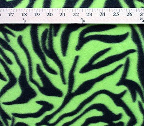 - Polar Fleece Fabric Prints Animal Print Lime Zebra / 60