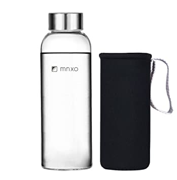 c4b9f3b845 Image Unavailable. Image not available for. Color: Mnxo® Ultra Clear  Borosilicate Glass Water Bottle for Office & Car & Bicycle & Travel