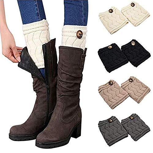 QKURT Bein Stulpen Damen, 1-4 Paar warme Beinstulpen Strick Damen Stulpen Socken Winter Kurze Stricken Stulpen Gestrickte Beinwärmer Leg Warmers Socken Boot Abdeckung für Frauen Mädchen