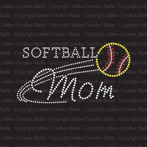 (Softball Mom Iron On Rhinestone Crystal T-Shirt Transfer by JCS Rhinestones)