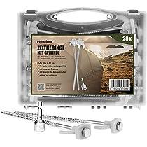 com-four® Clavijas para Carpas de Acero - largas y robustas con Rosca para Acampar y en Exteriores - Ideal para terrenos