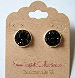 Silver-Tone Stud Earrings 12mm Black Faux Druzy Stone