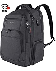 KROSER School Laptop Backpack 17.3 Inch Large Travel Computer Backpack Water-Repellent Daypack with USB Charging Port & Headphone Interface RFID Pockets for Work/Business/College/Men/Women