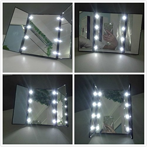 Cosmetic Mirror, Tri-Fold Lighted Led Mirror /Desktop Mirror / Vanity Mirror / Lighted Makeup Mirror / Pocket Mirror / Compact Mirror/3 Way Mirror With LED Bright for Tabletop, Travel LEDUNUS