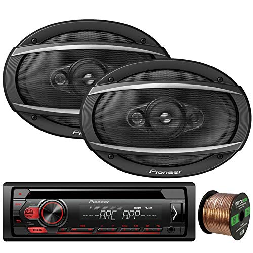 Pioneer DEH-S1100UB Single-DIN CD Player AM/FM Car Stereo Receiver, 2 x Pioneer TS-A6960F 6x9 4-Way 450W Car Audio Speakers, Enrock Audio 16-Gauge 50Ft. CCA Speaker Wire ()