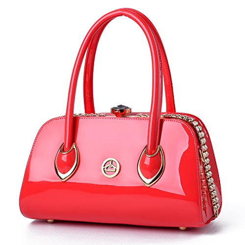 - Nevenka Brand Fashion Women Bags Shoulder Bag Patent Leather Totes Crossbody Handbags SR66 (RED)