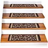 """Gloria Rug Skid-Resistant Indoor/Outdoor Rubber Backing Gripper Non-Slip Carpet Stair Treads-Machine Washable Stair Mat Area Rug (SET OF 7), 8.5"""" x 26"""", Brown"""