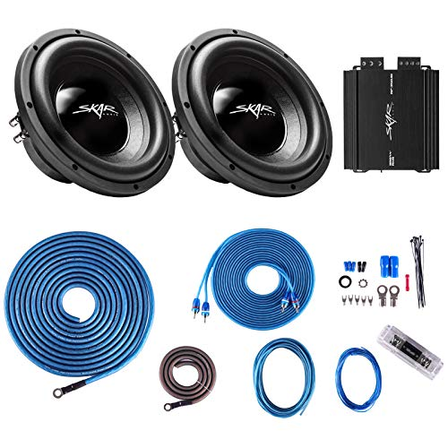 Skar Audio IX-10 D4 Dual 10″ 400 Watt RMS Subwoofer Package with RP-350.1D Amplifier and 4 Gauge Amp Wiring Kit