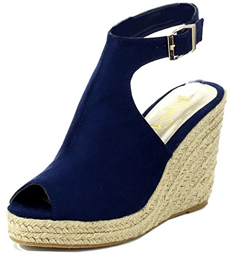 Refresh Footwear Women's Espadrille Wedge Platform Peep Toe Sandal (8.5 B(M) US, Navy)