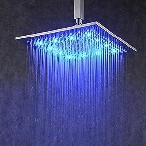 Hiendure Contemporary LED Rectangular 12 Inch Waterfall Rain Shower Solid Bra