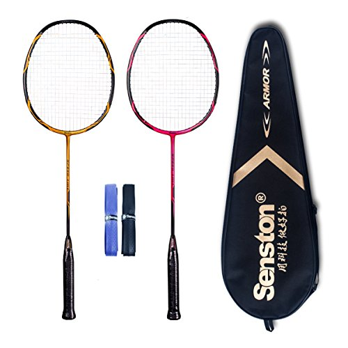 Senston - High Grade 2 Player Graphite Badminton Racket Set - Including 1 Badminton Bag/2 Rackets/2 Grip(red+yellow)